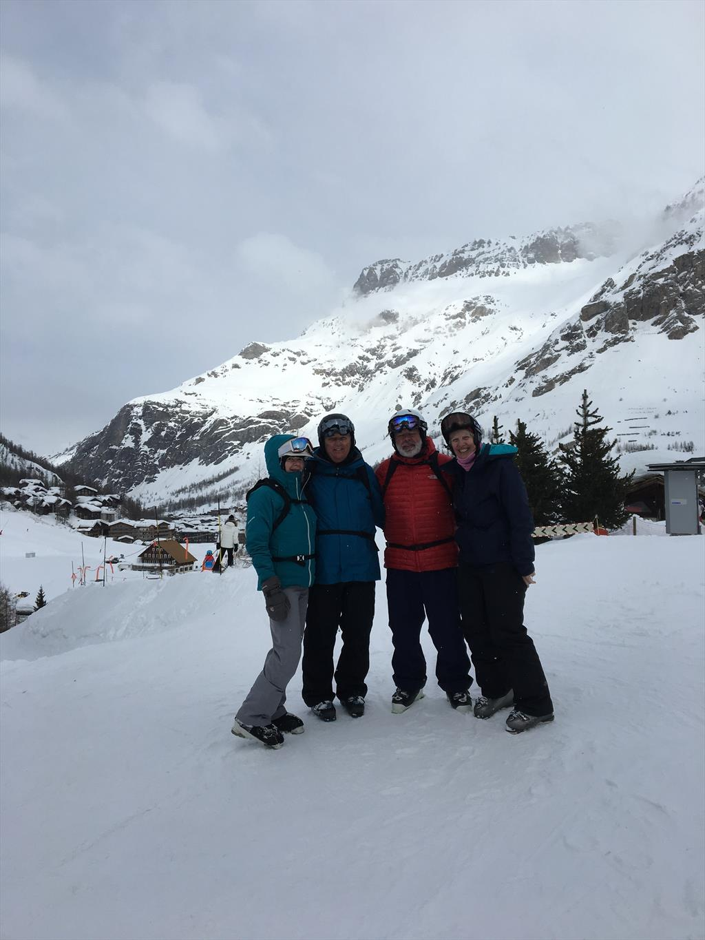 Four area New England Law grads meet up skiing in Alps